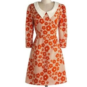 ModCloth Bea & Dot Retro Orange Floral Dress